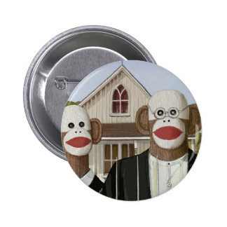 American Gothic Sock Monkeys Pinback Buttons