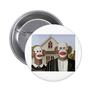 American Gothic Sock Monkeys Pin