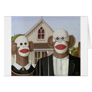 American Gothic Sock Monkeys Cards