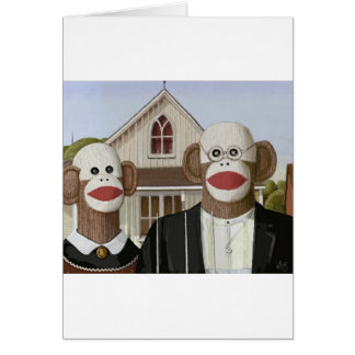 American Gothic Sock Monkeys Card