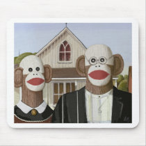 American Gothic Sock Monkeys Mouse Pad