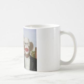 American Gothic Sock Monkeys Classic White Coffee Mug