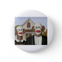 American Gothic Sock Monkeys Pinback Button