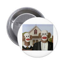 American Gothic Sock Monkeys Pinback Button