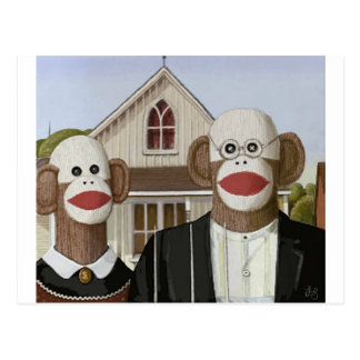 American Gothic Sock Monkeys Postcard