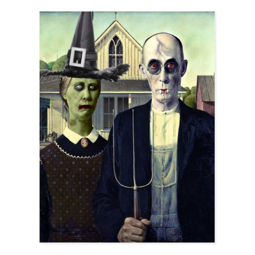 American Gothic Vampire and Witch Postcard