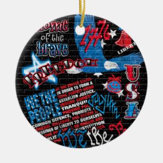 American Graffiti Double-Sided Ceramic Round Christmas Ornament