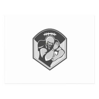 American Gridiron Football Player Fending Grayscal Post Card