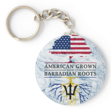 American Grown with Barbadian Roots Marble Style Keychain
