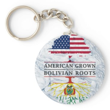American Grown with Bolivian Roots Marble Style Keychain