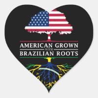 American Grown with Brazilian Roots   Brazil Heart Sticker