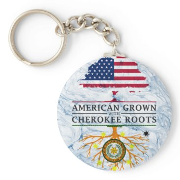 American Grown with Cherokee Roots Marble Style Keychain