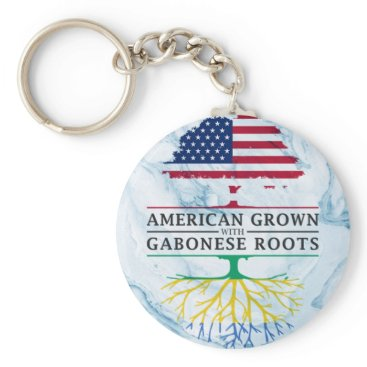 American Grown with Gabonese Roots Marble Style Keychain