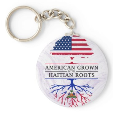 American Grown with Haitian Roots Marble Style Keychain