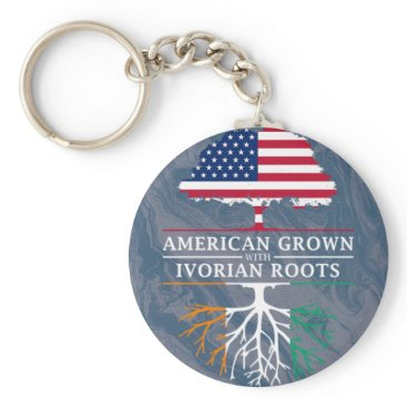 American Grown with Ivorian Roots Marble Style Keychain