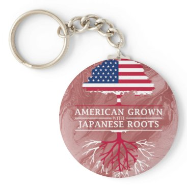 American Grown with Japanese Roots Marble Style Keychain