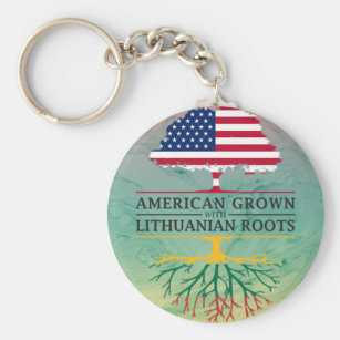 American Grown with Lithuanian Roots Marble Style Keychain