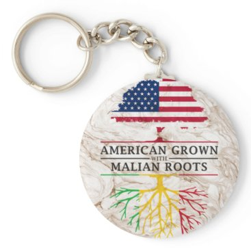 American Grown with Malian Roots Marble Style Keychain