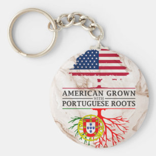 American Grown with Portuguese Roots Marble Style Keychain