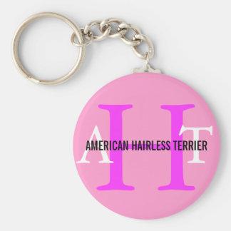 American Hairless Terrier Monogram Key Chains