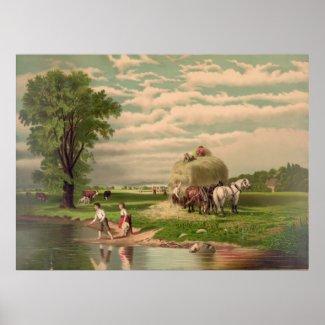 American Hay Harvest Print print