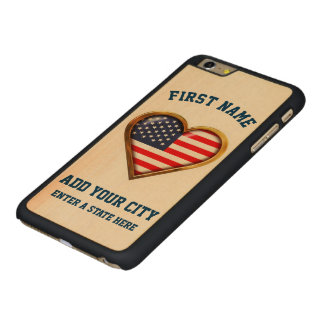 American Heart Customized With Any City And State Carved Maple iPhone 6 Plus Slim Case