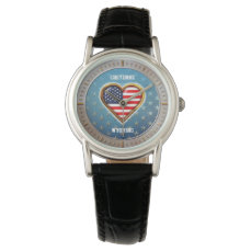 American Heart Customized With Your City And State Watch