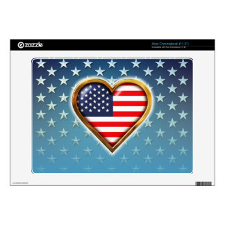 American Heart Decal For Acer Chromebook