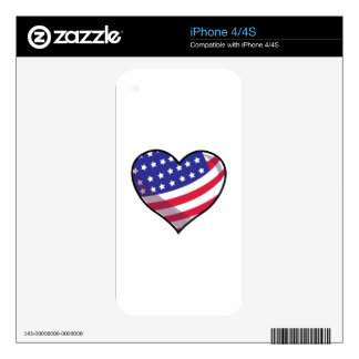 American Heart Decals For iPhone 4