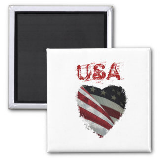 American Heart Flag 2 Inch Square Magnet