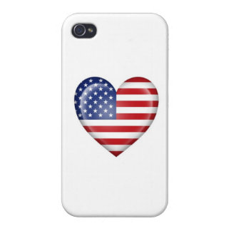 American Heart Flag on White iPhone 4/4S Covers