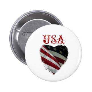 American Heart Flag Pinback Button