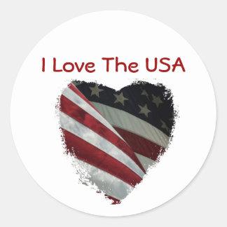 American Heart Flag Round Sticker
