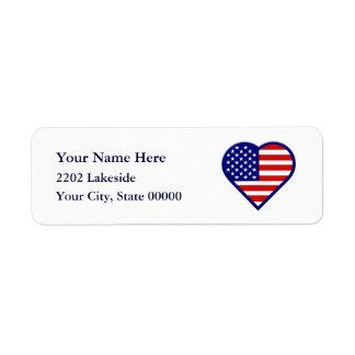 American Heart Flag USA Return Address Label