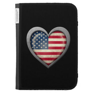 American Heart Flag with Metal Effect Kindle 3 Covers