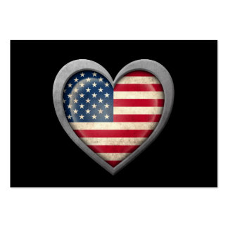 American Heart Flag with Metal Effect Large Business Cards (Pack Of 100)