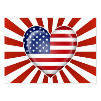 American Heart Flag with Star Burst Large Business Cards (Pack Of 100)