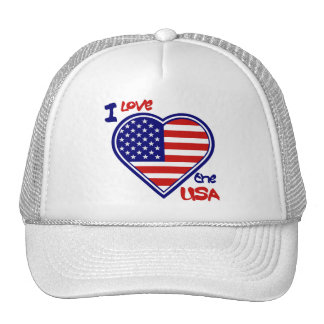 "American Heart Hat "" I Love the USA"""