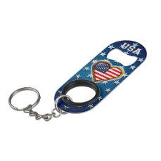 American Heart Keychain Bottle Opener