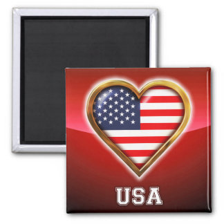 American Heart 2 Inch Square Magnet