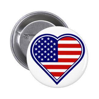 American Heart Shape Flag Button 2