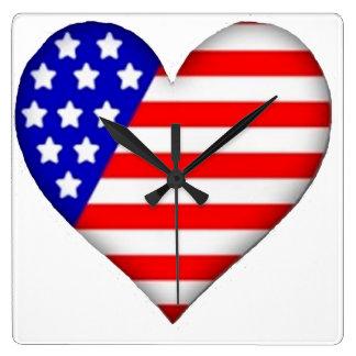 American Heart Square Wallclocks