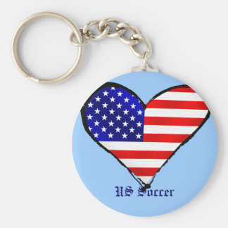 American heart USA Soccer lover US soccer gifts Basic Round Button Keychain