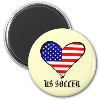 American heart USA Soccer lover US soccer gifts 2 Inch Round Magnet