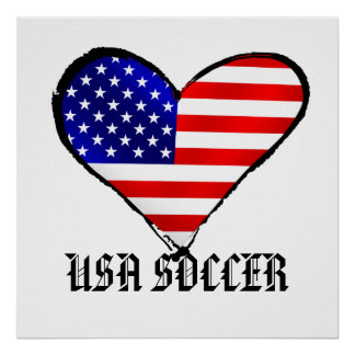 American heart USA Soccer lover US soccer gifts Poster