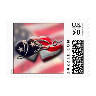 American Hearts Flag Design I Do Military Wedding Postage