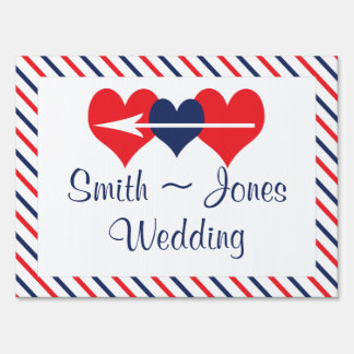 American Hearts Wedding Direction Sign