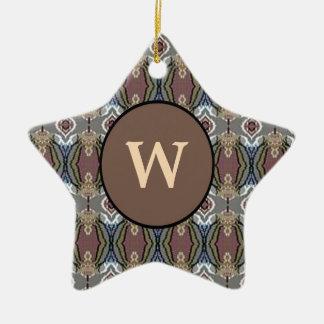 American Heritage Colors Pattern w/Monogram Ceramic Ornament