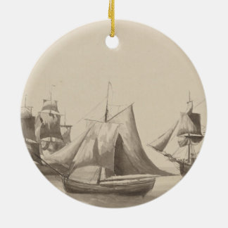 American History - Sailing from Halifax Ceramic Ornament