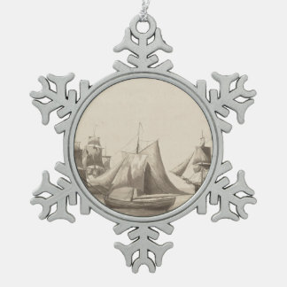 American History - Sailing from Halifax Snowflake Pewter Christmas Ornament
